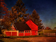 Barns Digital Art - Shedding Light on the Farm by Pamela Phelps