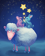 Furry Digital Art Originals - Sheep and Bunnies in The Night Sky by Adrianne Izaguirre