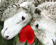 Engagement Digital Art Prints - Sheep Art - For Life Print by Sharon Cummings