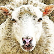 Ranch Digital Art Posters - Sheep Art - White Sheep Poster by Sharon Cummings