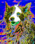Dogs Digital Art Metal Prints - Sheep Dog 20130125v3 Metal Print by Wingsdomain Art and Photography
