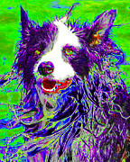 Dogs Digital Art Metal Prints - Sheep Dog 20130125v4 Metal Print by Wingsdomain Art and Photography