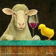 Chick Prints - Sheep Faced On Wine With Some Chick He Met In A Bar... Print by Will Bullas