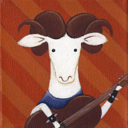 Rock N Roll Painting Prints - Sheep Guitar Print by Christy Beckwith