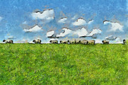 Farm Fields Drawings Framed Prints - Sheep Herd Framed Print by Ayse T Werner