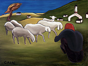 Flock Of Sheep Painting Posters - Sheep Herder  Poster by William Cain