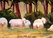 Warm Tones Art - Sheep in the Meadow by Blenda Studio