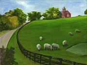 Pasture Scenes Painting Posters - Sheep May Safely Graze Poster by Deborah Butts