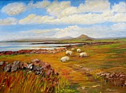 Sheep Paintings - Sheep near Carna Cashel road by Maureen Dowd