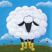 Nursery Paintings - Sheep Nursery Art by Christy Beckwith