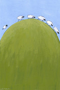 Children S Room Prints - Sheep on a Hill Print by Christy Beckwith