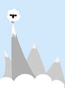 Blue Grey Posters - Sheep On Top of a Mountain Poster by Christy Beckwith