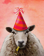 Party Hat Framed Prints - Sheep Party Sheep Framed Print by Kelly McLaughlan
