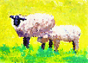 Glass Wall Painting Posters - Sheep  Poster by Patricia Awapara
