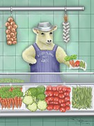 Marlene Watson Art - Sheeply and Sons...the vegetarian butcher by Marlene Watson