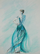 Gown Drawings - Sheer Blue by Tamyra Crossley