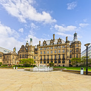 Paving Prints - Sheffield Town Hall and Fountain Print by Colin and Linda McKie