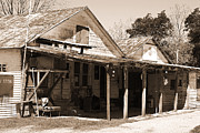 Black Commerce Art - Shelby Store - 2012 Vintage Texas Sepia by Connie Fox