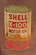 Man Caves Posters - Shell Motor Oil Poster by Michelle Calkins