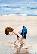 Cape Cod Paintings - Shelling on the Cape Watercolor by Michelle Wiarda
