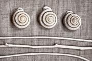Shells And Sticks Print by Carol Leigh