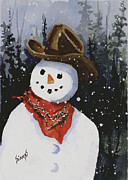Shelly's Snowman Print by Sam Sidders