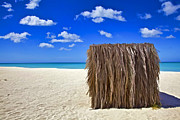 Aruba Prints - Shelter on a White Sandy Caribbean Beach with a Blue Sky and White Clouds II Print by David Letts