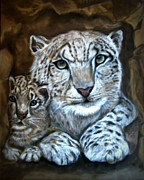 Snow Pastels - Shelter with Mom by Sharon Schumann