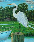 Isle Of Palms Paintings - Shem Creek Egret ll by Dwain Ray