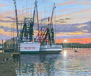 Dolphin Art Print Prints - Shem Creek Shrimpers Charleston  Print by Richard Harpum