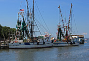 Water Vessels Metal Prints - Shem Creek Shrimpers Metal Print by Suzanne Gaff