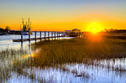 Water Line Photos - Shem Creek Sunset - Charleston SC  by Drew Castelhano