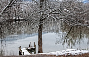 Painterly Framed Prints - Shenandoah Winter Serenity Framed Print by Lara Ellis