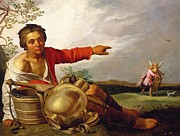 Gold Angel Prints - Shepherd Boy Pointing at Tobias and the Angel Print by Abraham Bloemaert