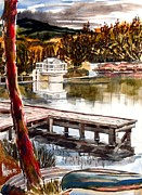Canoe Mixed Media Prints - Shepherd Mountain Lake Bright Print by Kip DeVore