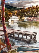 Canoe Mixed Media Originals - Shepherd Mountain Lake in Twilight by Kip DeVore