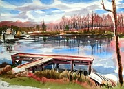Pond In Park Painting Prints - Shepherd Mountain Lake in Winter Print by Kip DeVore