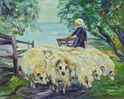 Flock Of Sheep Painting Posters - Shepherdess Sheep Poster by Ruth G Foster