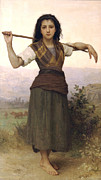 Herder Posters - Shepherdess Poster by William Bouguereau
