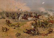 Confederate Paintings - Sheridans Final Charge at Winchester by American School