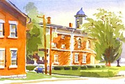 Reds Prints - Sheriffs Residence with Courthouse II Print by Kip DeVore