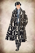 Typographic  Digital Art Prints - Sherlock - Benedict Cumberbatch Print by Ayse T Werner