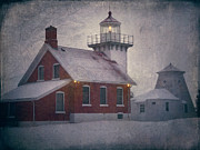 Door County Landmark Framed Prints - Sherwood Point Light Framed Print by Joan Carroll