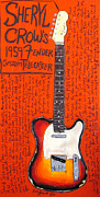 Fender Telecaster Framed Prints - Sheryl Crow Fender Telecaster Framed Print by Karl Haglund