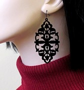 Laser Cut Jewelry - Shes A Mystery - Victorian Lace Statement Earrings by Rony Bank