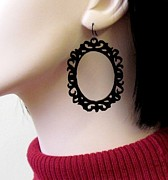 Large Earrings Jewelry - Shes A Mystery - Victorian Unique Frame Earrings by Rony Bank