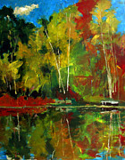 Metaphor Paintings - Shes Like A Lake In Autumn by Charlie Spear