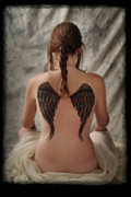 Artistic Portraiture Framed Prints - Shes No Angel - Female with Black and Grey Angel Wings Tattoed on her Back Framed Print by David Rigg