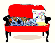 Mixed Media Of Dogs Posters - Shhhhh The Retro Chair Poster by Brian Buckley