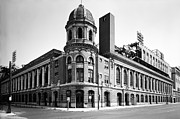 Philadelphia Phillies Framed Prints - Shibe Park in black and white Framed Print by Bill Cannon